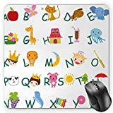 BGLKCS Educational Mouse Pad by, Cute Kids Alphabet with Fruits Animals Prince Princess Cheerful Colorful Design, Standard Size Rectangle Non-Slip Rubber Mousepad, Multicolor