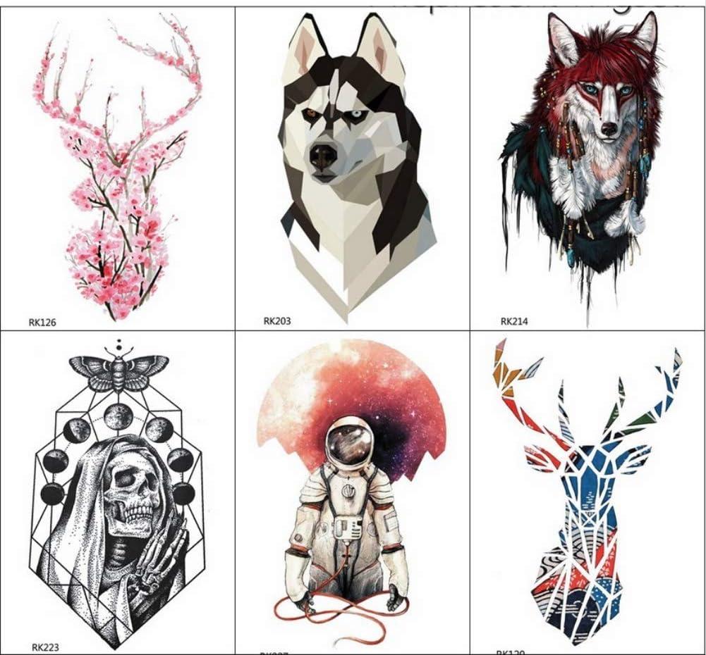 yyyDL Acuarela Moose Deer tatuaje temporal pegatinas hombres moda ...