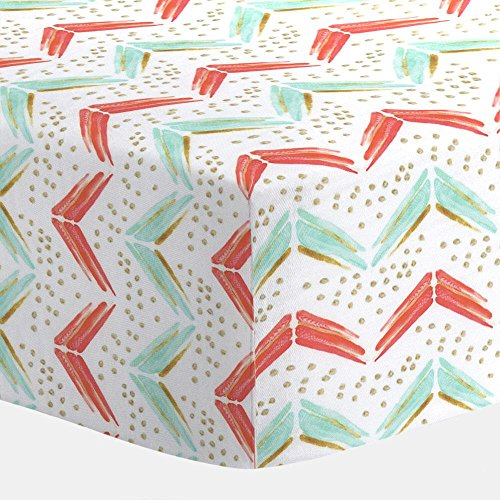 Carousel Designs Coral and Teal Chevron Crib Sheet - Organic 100% Cotton Fitted Crib Sheet - Made in the USA (Teal Chevron Toddler Bedding)