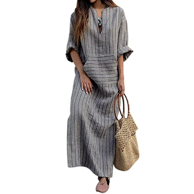 04016d8165 iBaste S Women s Summer Long Stripes Hollow Round Neck Casual Cotton   Linen  Maxi Dress with Pockets