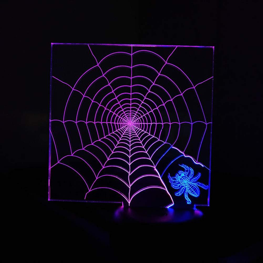 QJIAXING Spinne-Netz der Nachtlichter 3D kreative Bunte Note die LED-Stereolampe-Geschenke für Kinder auflädt,Farbe