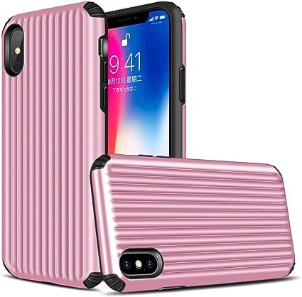 Yunbaoz Cover Valigia per iPhone X, Dorso in Rilievo Duro Incontro Cornice in Silicone Morbido Rinforzo a Quattro Angoli Facile da Impugnare Suitcase ...