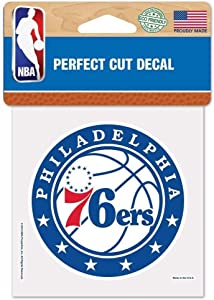 WinCraft NBA Philadelphia 76ers 4x4 Perfect Cut Color Decal, Team Colors, One Size