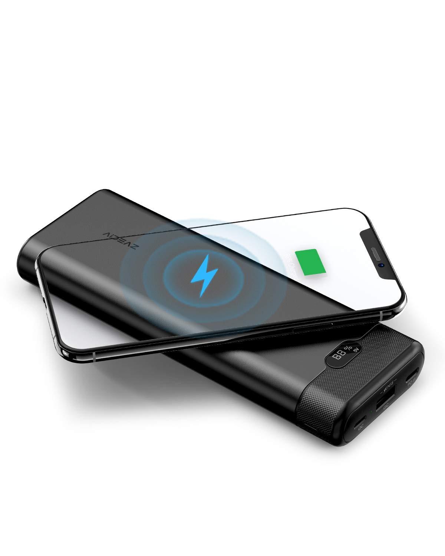 AIDEAZ Batería Externa 20000mAh Powerbank con Cargador inalámbrico, pantalla LCD, entrega de energía de 18W