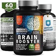 N1N Brain Supplement Nootropics Booster [Immune Support, 2x Caps] Enhances Focus, Memory & Clarity. 41 Ingredients, Men & Women, Ginko Biloba, Vitamins, Cayenne, Manganese (60 Veg Caps)