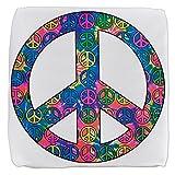 18 Inch 6-Sided Cube Ottoman Peace Symbols Inside Tye Dye Symbol
