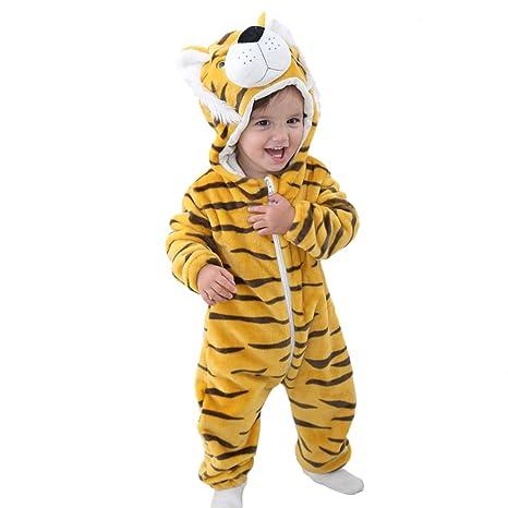 GWELL Kinder Baby Tier Kostüme Tieroutfit Cosplay Jumpsuit Schlafanzug Mädchen Jungen Winter Nachtwäsche Strampler Tiger Körp
