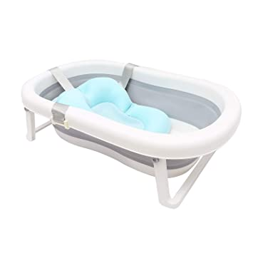 for Newborns 2-in-1 Collapsible Baby Bathtub with Cushion Infant Foldable Bath tub Anti Slip 0-6 Year Old