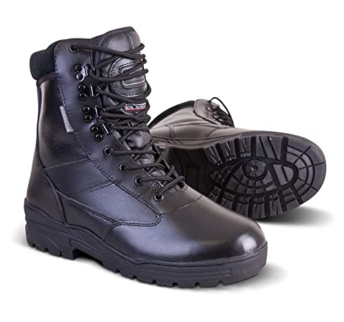 b1b3e4189b9 New Mens Army Military Combat Full All Leather Army Patrol Work Hiking  Cadet Boot Black UK Size 3-13