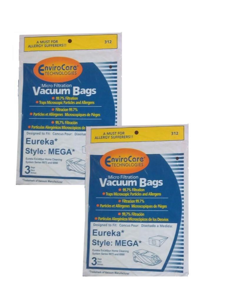 6 bags (2Pkg)Eureka MEGA #58624 (58624A)Cannister Vacuum Cleaner Allergen Style Bags Model Excalibur Powerteam 6975 and 6990