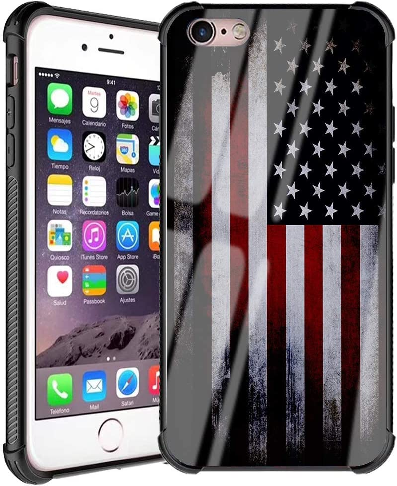 iPhone 6 Plus Case, American Flag for Men Boys iPhone 6s Plus Case Patriotism Design Slim Fit Tempered Glass Back Cover with Soft Silicone Bumper Case for iPhone 6 Plus/6s Plus, Cool Old USA Flag