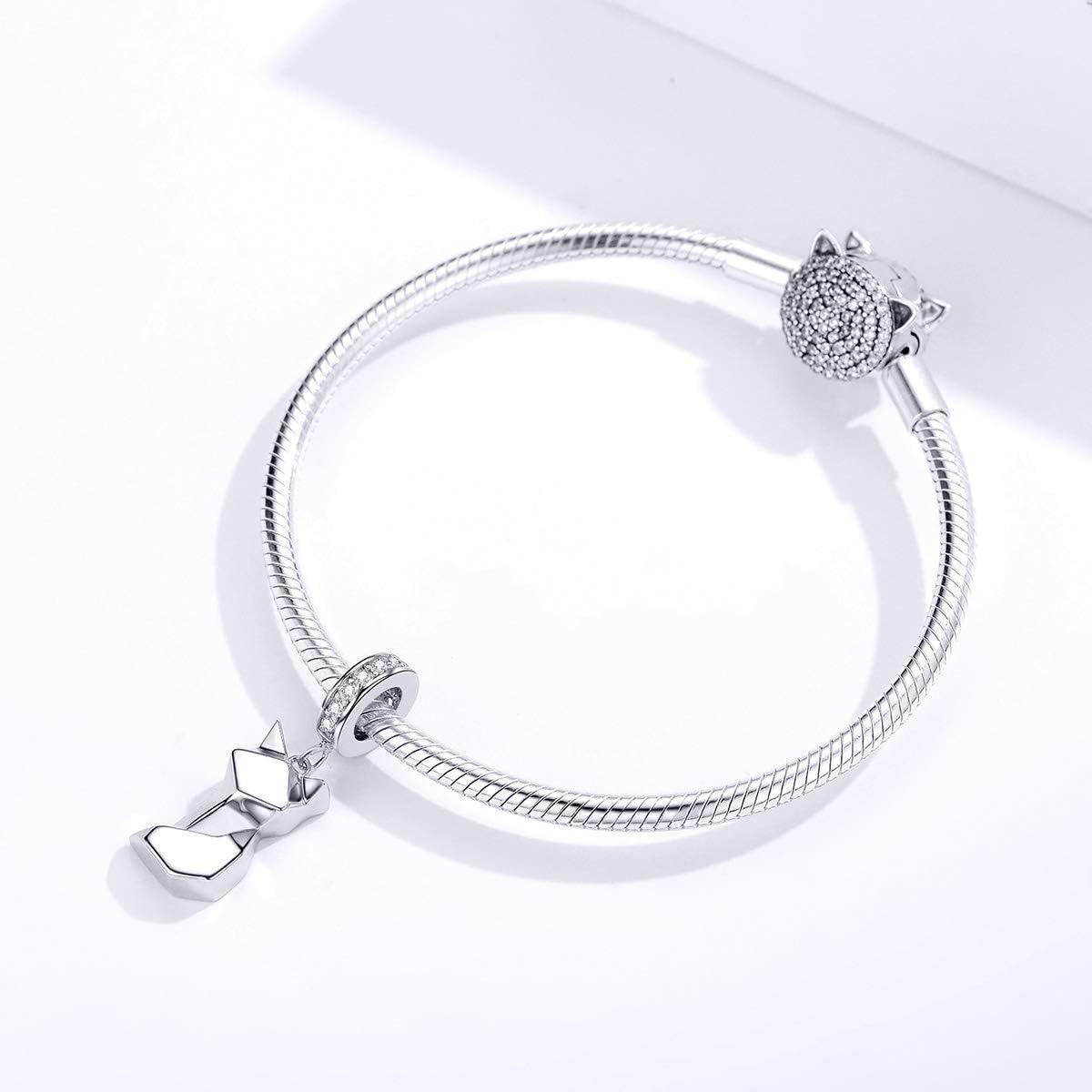 European 925 Silver CZ Charm Beads Pendant Fit sterling Bracelet Necklace N#593