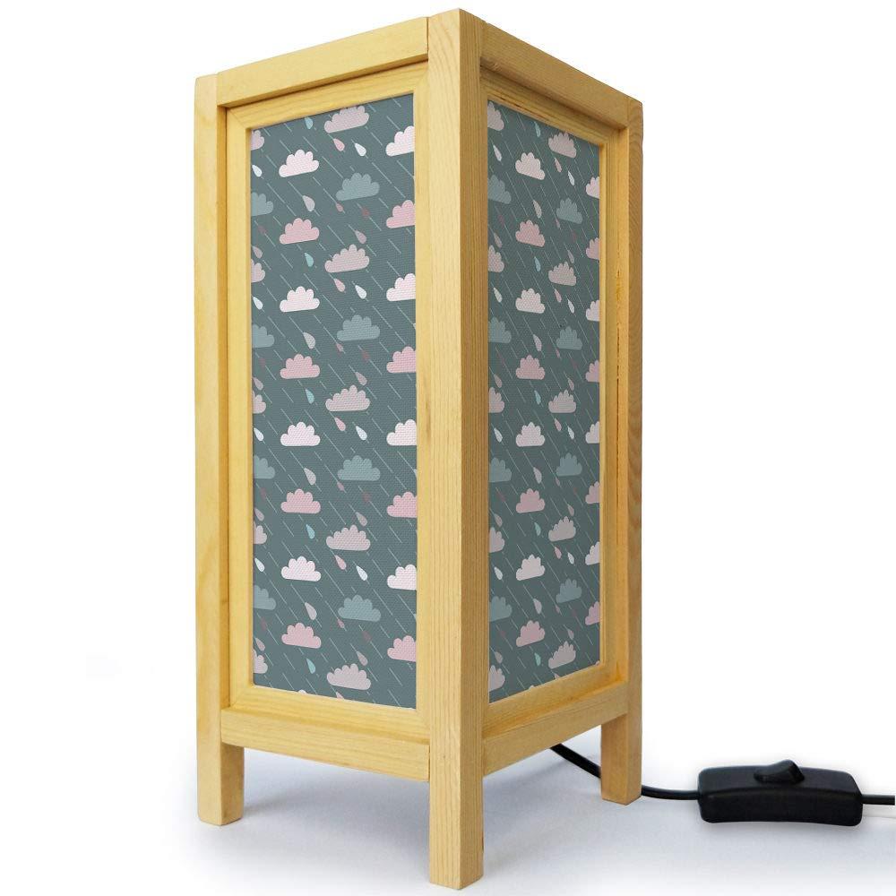 タイ オリエンタル アジア ハンドメイド 天然木 ミニマリスティック デスクランプ テーブル ベッドサイド ナイトライト - カラフル 雲 ピンク B07H1WNXG5