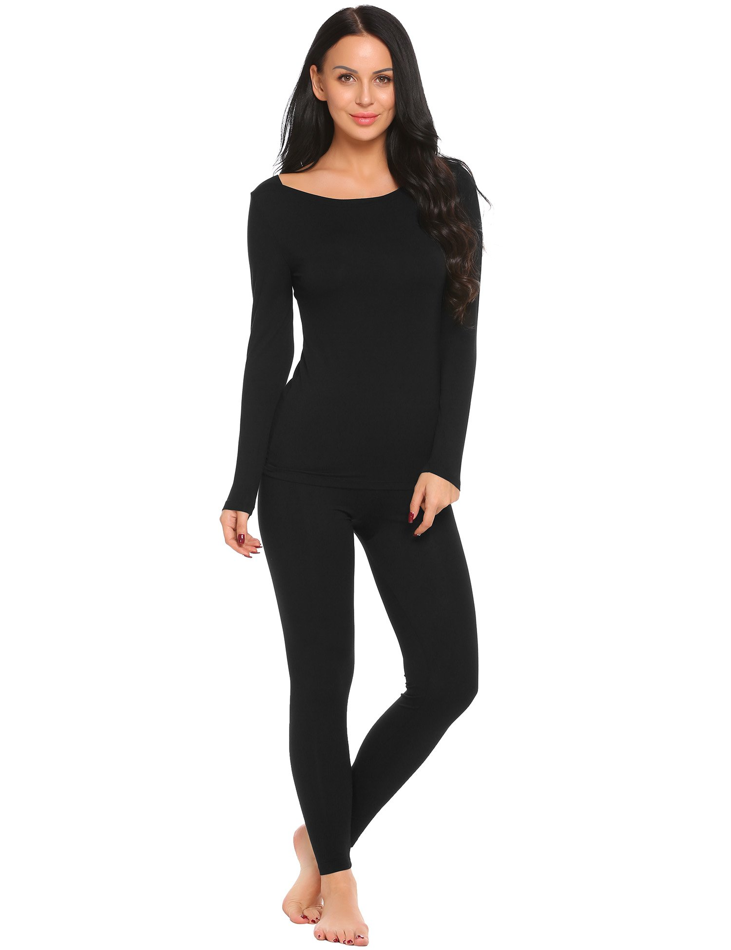 Ekouaer Womens Long Johns Thermal Underwear Set Base Layer Top and Pants,Black(7893),Small
