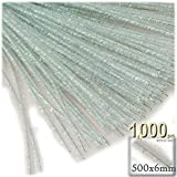 The Crafts Outlet Chenille Sparkly Stems, Pipe Cleaner, 20-in (50-cm), 1000-pc, Clear