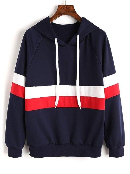 ZAFUL Mujer Sudadera Con Capucha Contraste de Ropa Deportiva Otoño Outwear Sweatshirt Patchwork Hoodie (S