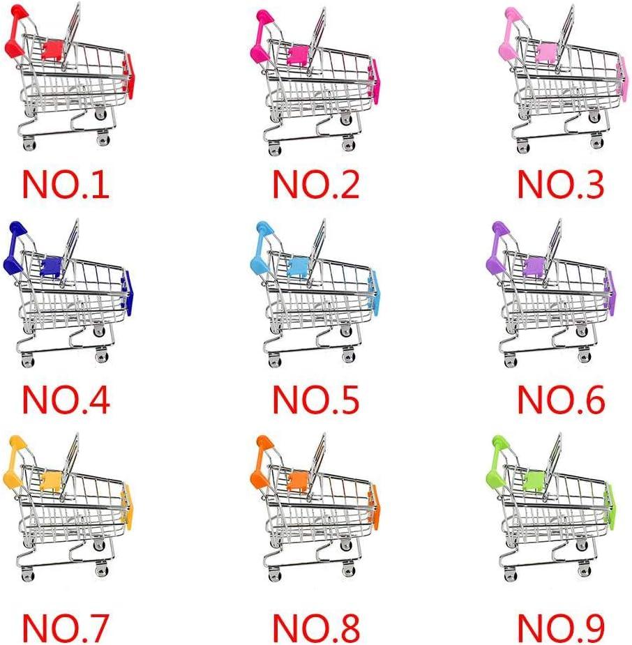 Baby Kids Simulation Mini Shopping Cart Toys Handcart Supermarket Storage Basket Trolley Toy,green,11.5x8.5x11.5cm