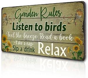 Retro Garden Rules Sign Vintage Garden Signs for Home Porch Patio Yard Garden Shed Decor Hanging Garden Plaque Listen to Birds Quotes by 16''x8''