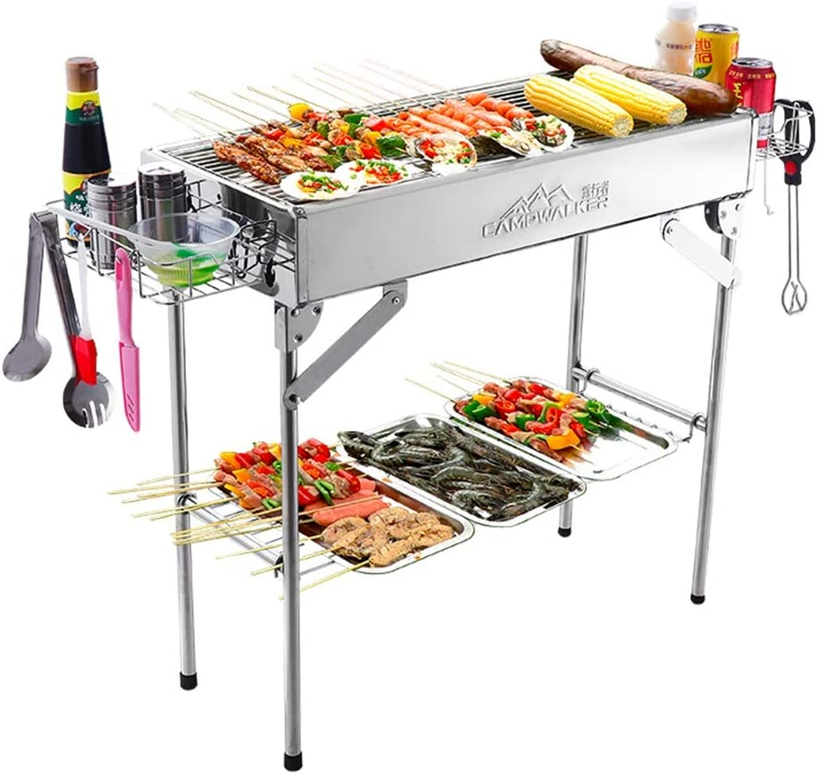 Charcoal Grills Charcoal BBQ Home Grill Stainless Steel Grill Portable Wild Carbon Oven Foldable BBQ Grill with Fry Pan Travel Outdoor Barbecue Tool (Color : Silver, Size : 723270cm)