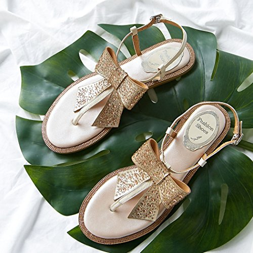 Libre Zapatos Mujer Las Sandalias Vacaciones Aire Mujeres De Al Arco Verano Pie Champán Roma Rhinestone Cuero Dedo Ocio Gaolixia Del 61qwR