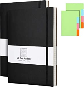 B5 College Ruled Notebook Softcover Journals(2-Pack)- AHGXG Large Composition Notebook 7.6 x 10 inch with Thick 100gsm Lined Paper, Total 408 Numbered Pages, Black Black