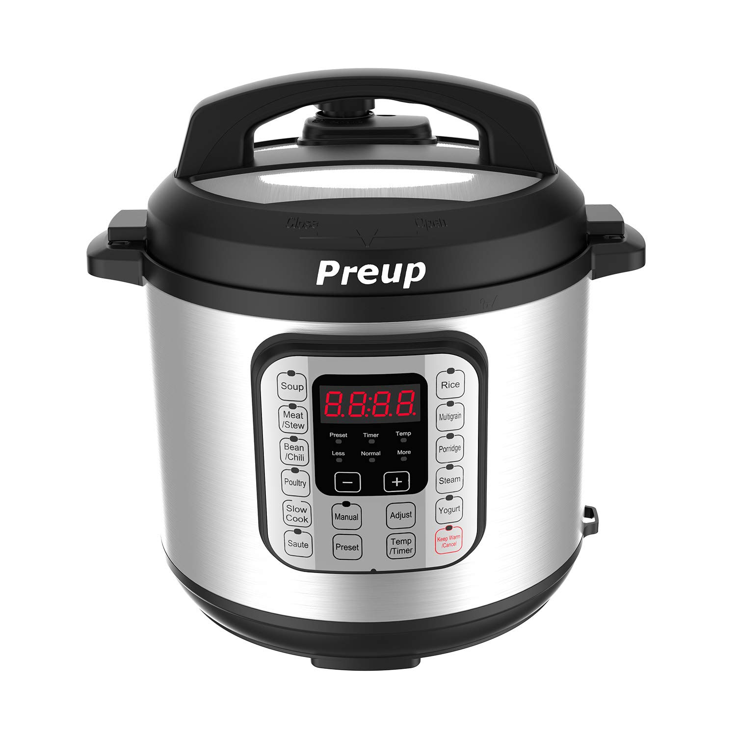 PREUP Electric Pressure Cooker, 6 Quart 7-in-1 Multi-Use Programmable Slow Cooker, Rice Cooker, Steamer, Saute, Yogurt Maker, Hot Pot and Warmer, Stainless Steel