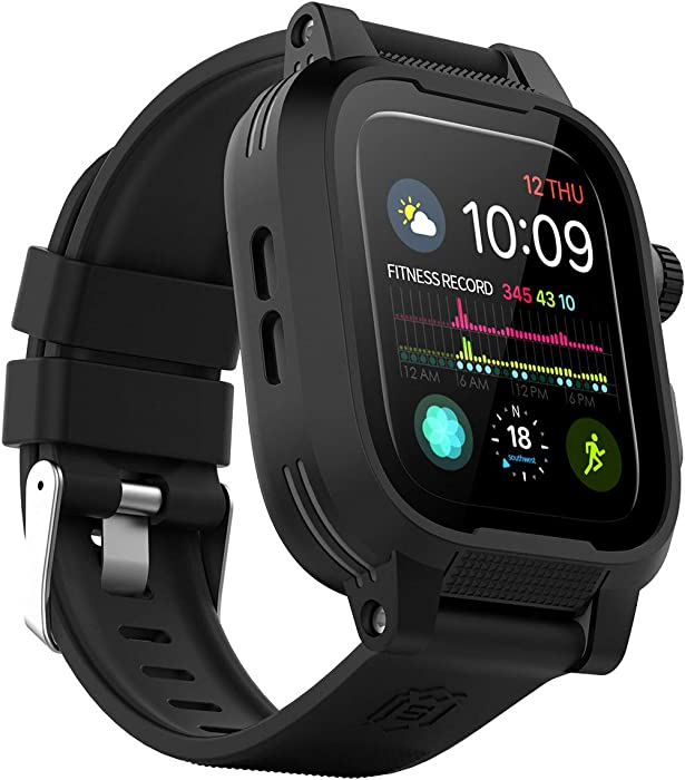 Waterproof Apple Watch Case 40mm Series 6 / SE / 5 / 4 with Premium Bands, Built-in Screen Protector Full Body Rugged iWatch Protective Case Anti-Scratch Drop Shock Proof Apple Watch Case (40mm)