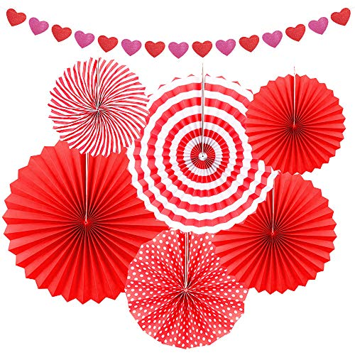 Red Party Decoration Set - 6Pcs Hanging Paper Fan with Heart Garland Banner for Valentine's Day Wedding Birthday Baby Shower Homecoming Summer, Party Favor Gift Home Office Background Photo Booth ()