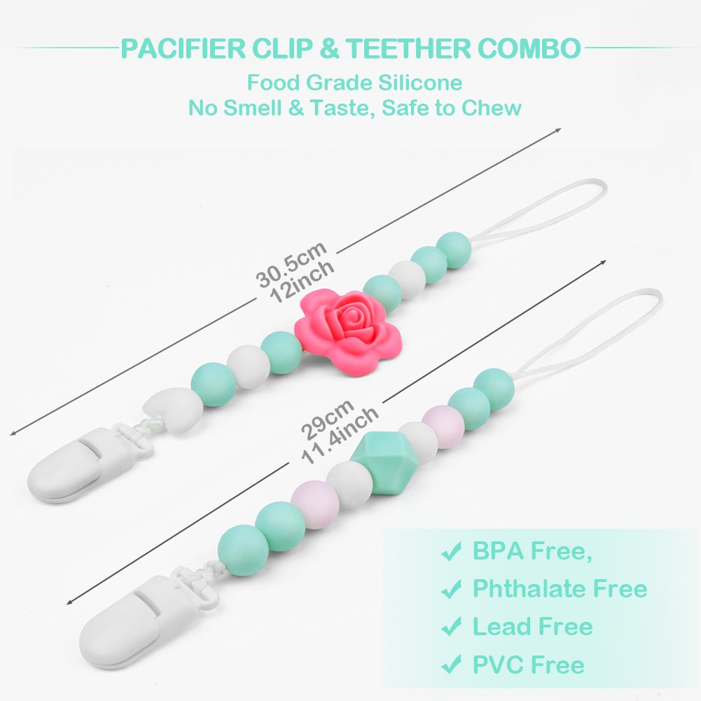 2 Pack Baby Shower Gift Teether Pacifier Clip Holder Girl and Boy,Soothie Holder Adapter,Silicone Teething Beads Soother Clips