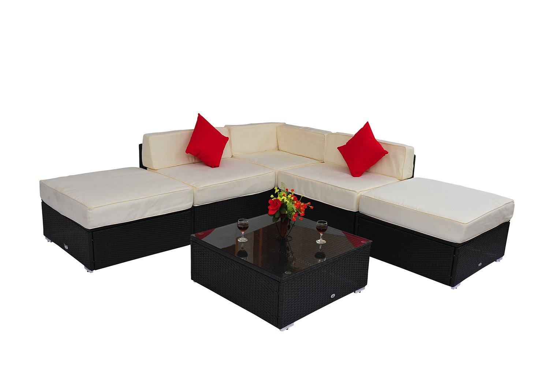 Outsunny 6pcs Deluxe Rattan Sofa Outdoor Wicker Sectional Set Garden Patio  Furniture All Weather Resistant: Amazon.ca: Patio, Lawn U0026 Garden
