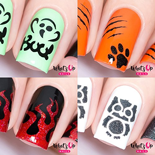 Halloween Nail Vinyl Stencils 4 pack (Boo!, Kitty Scratch, Fire, Owl) for Nail Art Design
