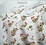 Mirabello Italian Luxury Cotton Tablecloth - Gerani Floral 63 x 90 inches