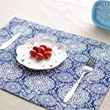 KathShop Table mats Tableware mats Pads New tie-Dyed Cotton Cloth placemat Double Japanese-Style Table mat Home Decoration