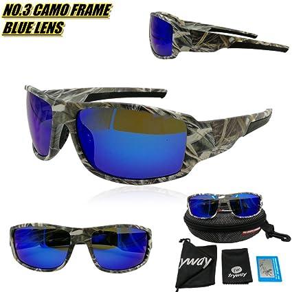tryway mejor calidad gafas de sol para hombres deporte al aire libre camuflaje marco marrón UV gafas de sol polarizadas barato ...
