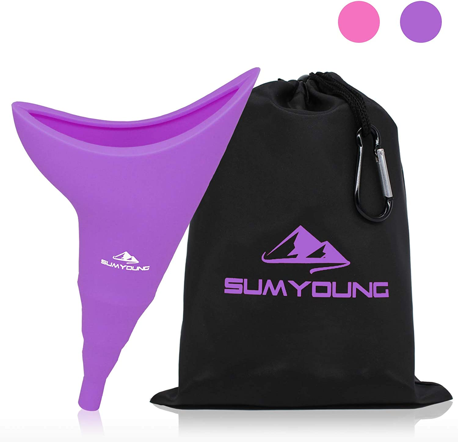 Female Urination Device, Foolproof Female Urinal Allows Women to Pee Standing Up, Portable, Compact, Lightweight Design for Camping, Hiking, Music Festivals, with Drawstring Bag and Carabiner