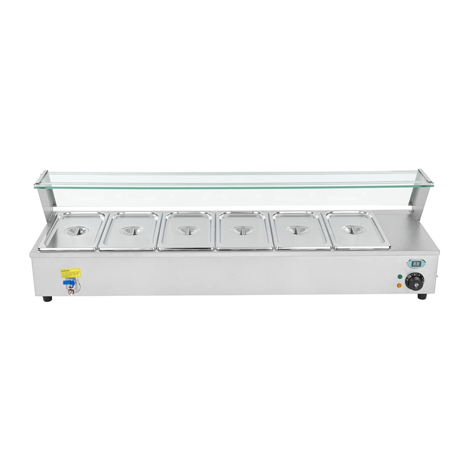 Royal Catering RCBM-63 Bain Marie/Food Warmer/Buffet Server/Buffet Warmer/6 x 1//3 GN 1800 W, 30/–90 /°C, 121,5x40x34 cm, Stainless Steel, Drain Tap, Glass Cover