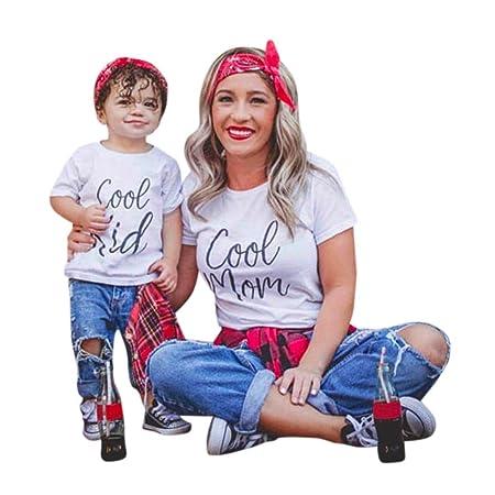 Mutter und Tochter T-shirt, Oyedens Partnerlook Familie Shirtkleid Mom & Me Mädchen Kurzarm Brief T-shirt Bluse Familie Kleid