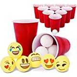 Totem World Beer Pong Game Set - 12 Red Cups + 24 White Ping-Pongs + 6 Emoji Balls