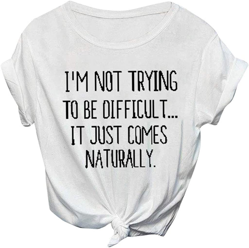 Handyulong Womens Summer Casual T-Shirts Graphic Short Sleeve Tees Funny Loose Tunic Shirts Blouse Tops for Teen Girls