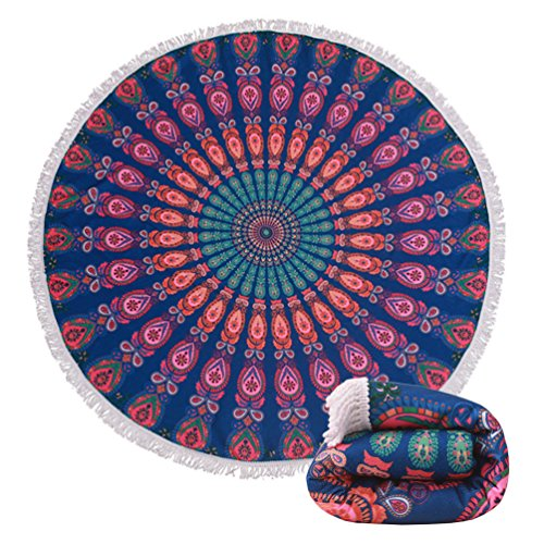 (16 Options) Thick Terry Round Beach Towel Blanket With Fringe Indian Mandala