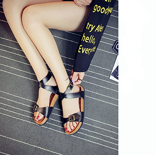 Women Ladies Flat Cork Sandals Open-Toe Beach Shoes With Ankle Strap Black KD6LsSM3Zl