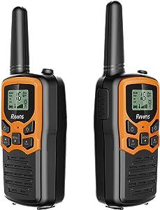 Rivins RV-7 Walkie Talkies for Kids Long Range 2 Pack 2-Way Radios Up to 5 Miles Range in Open Field 22 Channel FRS/GMRS Kids Walkie Talkies UHF Handheld Walky Talky (Black/Orange)