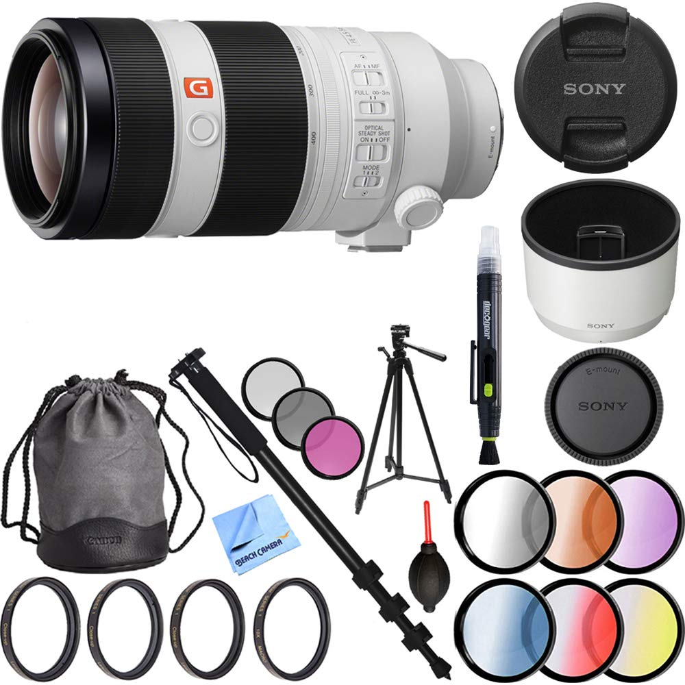 Sony FE 100-400mm f/4.5-5.6 GM OSS Full Frame E-Mount Lens (SEL100400GM) with 77mm UV, Polarizer, FLD, Close-Up, and Graduated Color Filter Sets Plus Pro Monopod and Tripod Bundle by Sony