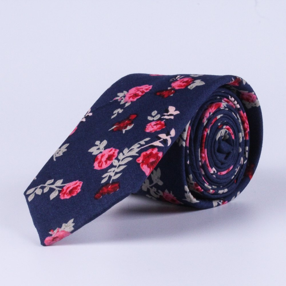 Men's Skinny Tie Floral Print Cotton Necktie, Gift for Weddings,Anniversary