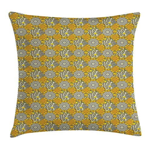 Queolszi Grey and Yellow Throw Pillow Cushion Cover, Hand Drawn Fish with Colorful Dots Cartoon Fauna Illustration, Decorative Square Accent Pillow Case, 18 X 18 inches, Marigold Pearl Grey