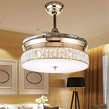 36 Inch Crystal Ceiling Fans With Lights Retractable Blade Remote Control Led Luxury Silent Invisible Ceiling Chandelier Lighting Rose Gold Amazon Com