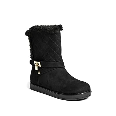 GUESS Factory Women's Adjust Quilted Faux-Fur Boots | Snow Boots