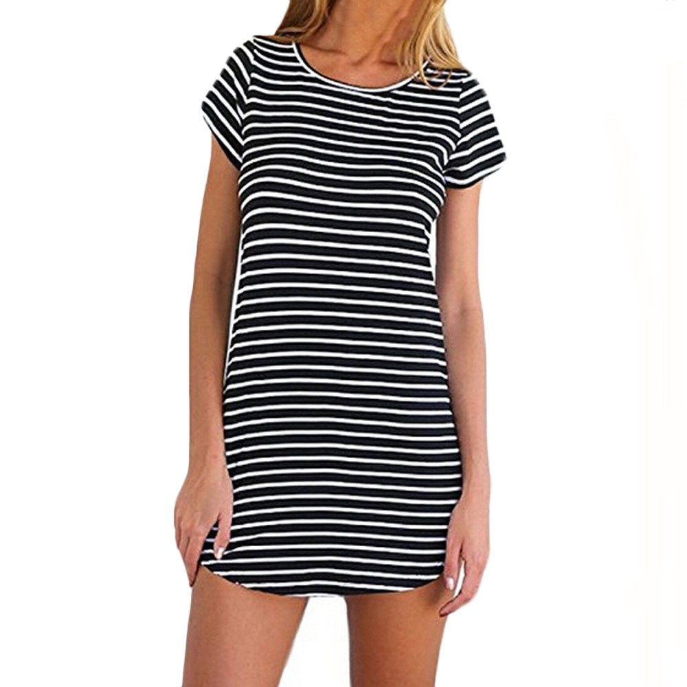 Women's Casual Striped O-Neck Short Sleeve Mini Dress Summer Loose T-Shirt Dresses Beach Sundress Black