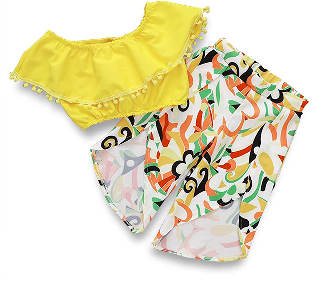 Toddler Baby Girl Pants Sets Ruffle Off-The-Shoulder Top Floral Long Pants Summer Outfits Beach Clothes for Kids18M-5T Yellow, 18-24 Months