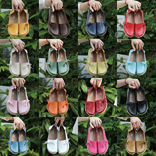 Soft Leather Non-Slip Flat Loahers,Byste Lace-up Decor Casual Shoes Slippers Peas Comfortable Outdoor Office Shoes Women Lady Girl Wine